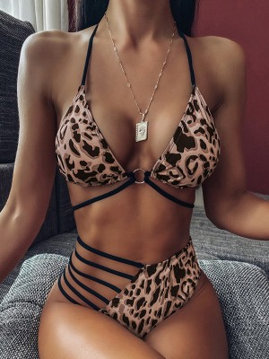 Delicate Leopard Print Halter Collar Bikini For Beauty