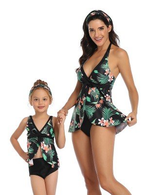 Versatile Family Beachwear Deep-V Plant Pattern Fashion Style