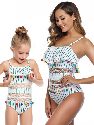 Classy Mom Kid Beachwear Stripe Paint On-Trend Fashion