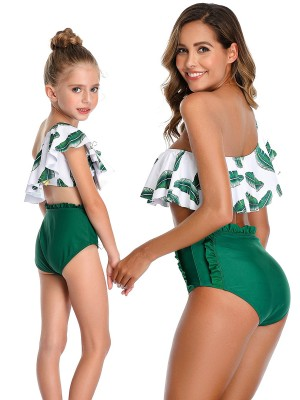 Irregular Green Ruffle Trim Mother Kid Beachwear Newest Fashion