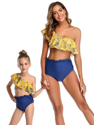 Beach Stunner Yellow Single Shoulder Mother Kid Swimwear For Ladies