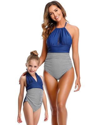 Tailored Purplish Blue Wireless Padded Mom Kid Swimwear For Upscale