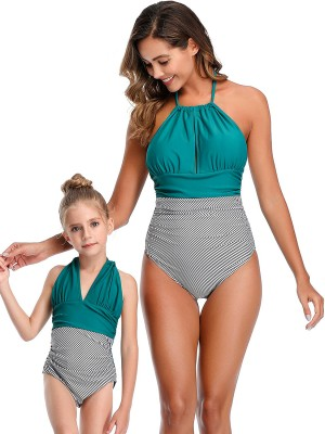 Splicing Green High Cut Leg Mom Kid Swimsuit Super Trendy