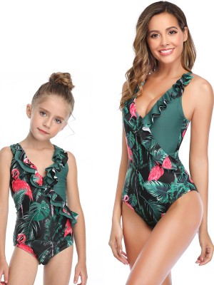 Mystic Green Ruffle Trim Cross Back Family Swimsuit Trend For Women