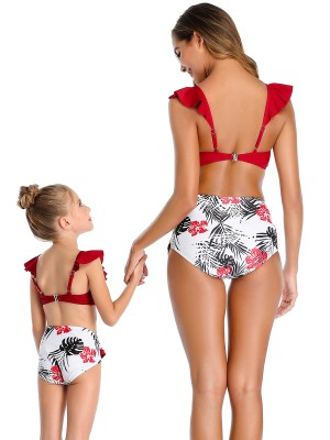 Sparkling Wine Red Adjustable Strap Mother Daughter Swimsuit