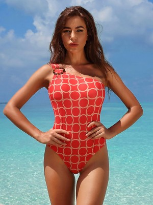 Vivifying Red Single Shoulder Free Wire Beachwear Women's Swimwear