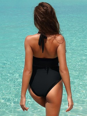 Incredible Black Solid Color Backless One-Piece Beachwear Comfort