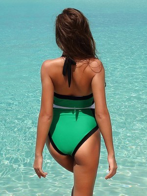 Flirtatious Green Halter Collar Free Wire Swimwear Female Fashion