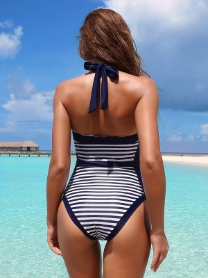 National Style Beachwear Stripe Paint Open Back Smooth