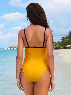 Trendy Yellow Swimwear Colorblock Open Back Strap Heartbreaker