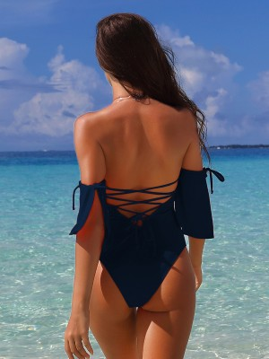 Natural Dark Blue One Pcs Swimwear Tie High Cut For Sexy Women