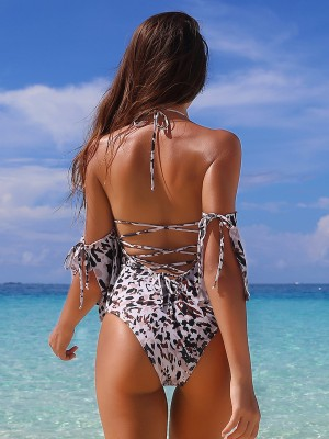 Daring Slit Leopard Paint 1 Pcs Beachwear Women's Fashion