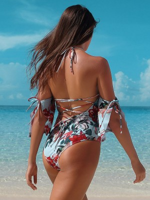 Appealing Flower Print Halter Neck Beachwear Womens Fashion