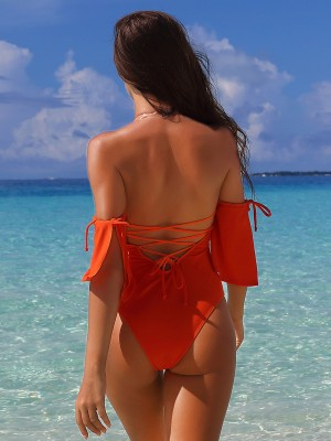 Eye Catching Orange One Piece Beachwear Solid Color Leisure Time