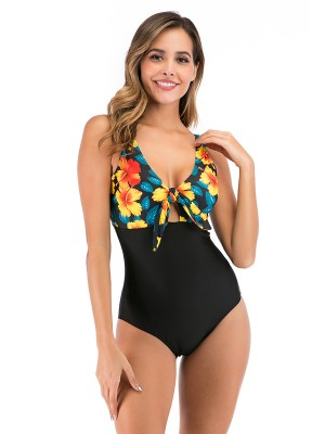 Explicitly Chosen Yellow Bow-Knot Swimwear Hollow Out Women's Swimwear