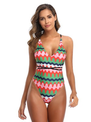 Explicitly Chosen Green Wave Paint One-Piece Swimwear Ladies Grace