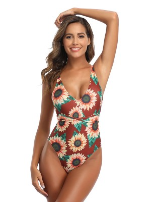 Enticing Red Swimsuit Cross Strap Flower Print Seaside Vacation