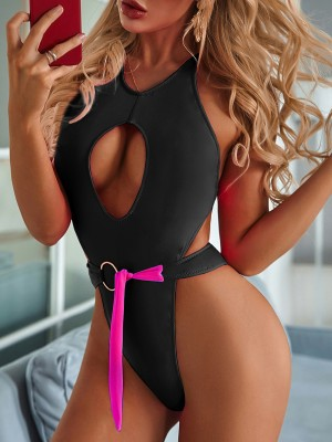 Incredibly Black High Rise Wireless One Piece Swimsuit Fashion Online