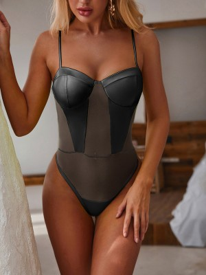 Adorable Black Slender Strap One Piece Beachwear Mesh Fashion Trend