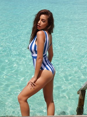 Incredible Blue Beachwear Stripe Printed High Cut Chic