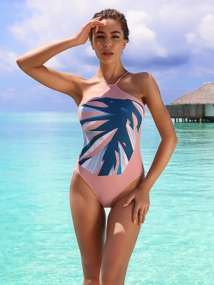 Modest Halter Neck Beachwear High Cut Leg Trendy Swimwear