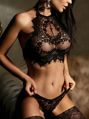 Ultra Black Lace Lingerie Backless Halter Neck Sexy