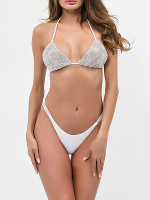 Romamce White Halter Neck Bling Bralette Two-Piece Ideal Choice