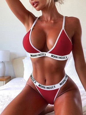 Affordable Red Contrast Color High Leg Bra Set Fashion Decor