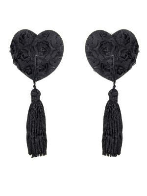 Retro Girls Black Rose Heart Shape Tassel Beast Pasties Comfortable