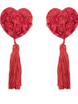 Tantalizing Red Heart Shape Rose Tassel Nipple Cover Noble Making