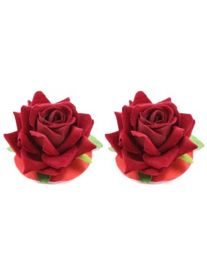 Provocative Red Rose Flower Breast Stickers Reusable All Over Gentle
