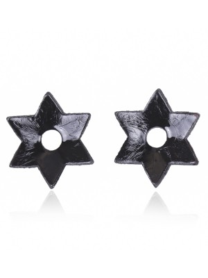 Black Rivet Nipple Cover Hexagonal Star Shape Allover Slim Fit