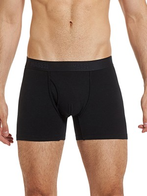 Flirtatious Black Solid Color Male Boxer Briefs For Four Seasons