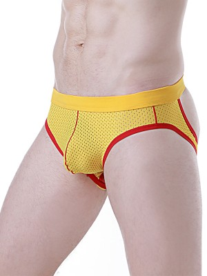 Yellow Cut Out Men Underwear Colorblock Undergarment