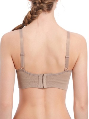 Staple Coffee Color Ruched Backless Nursing Bra Solid Color Fashion