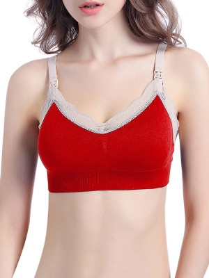 Glam Red Contrast Color Slender Strap Nursing Bra Classic Fit