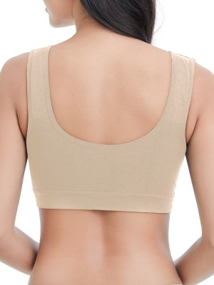Skin Color Three Buttons Maternity Bra Wire Free Super Comfortable Fabric