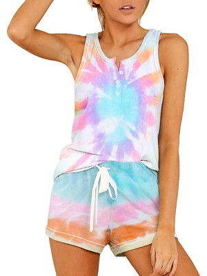Relaxing Tank Top Drawstring Tie-Dyed Shorts Allover Sleek