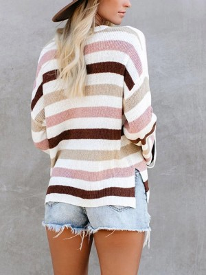 Stripe Pattern Flared Sleeve Knit Sweater Comfort Fashion