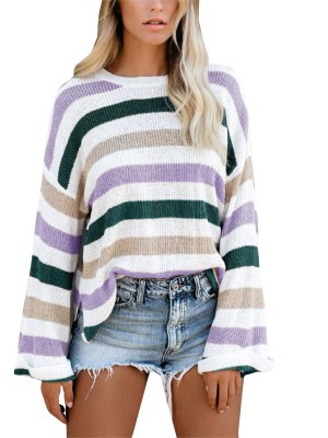 Sweater Side Slit Long Sleeve Crew Neck Versatile Item