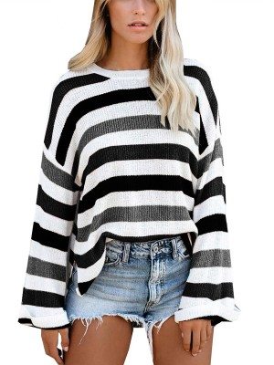 Crew Neck Side Slit Colorblock Sweater Fashion Insider