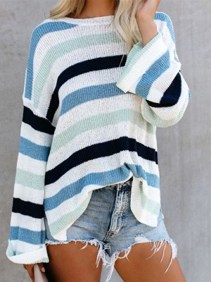 Sweater Contrast Color Bell Sleeve Slit Feminine Elegance
