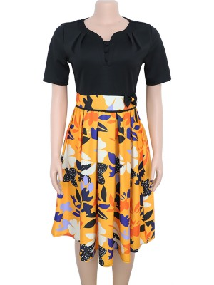 Stretch Black Flower Printing Big Size Midi Dress Feminine Fashion Style