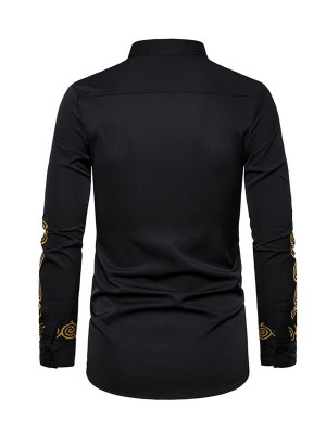 Splendid Black Stand Neck Button Hot Stamping Shirt Stretch