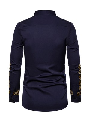 Awesome Purplish Blue Long Sleeve Stand Collar Tribal Shirt Distinctive Look