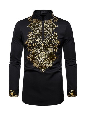 Exotic Paradise Black African Hot Stamping Zipper Men Top Fashion Sale