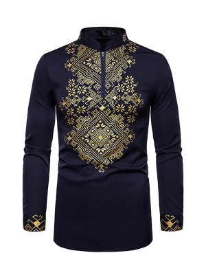Likable Purplish Blue Full Sleeves Male African Print Shirt For Men