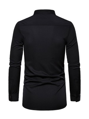 Casual Black Male Gold Stamping Long Sleeves Top Comfortable