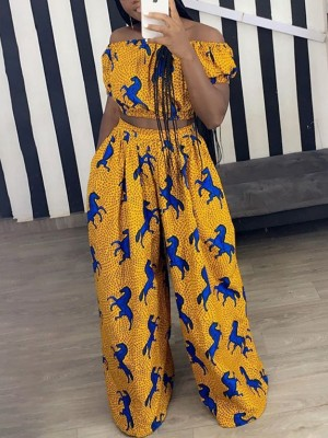 Conservative Off Shoulder Wide Leg Pants Suit Female Fashion