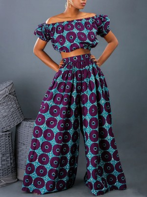 Fetching Off Shoulder Two-Piece African Style Weekend Fashion
